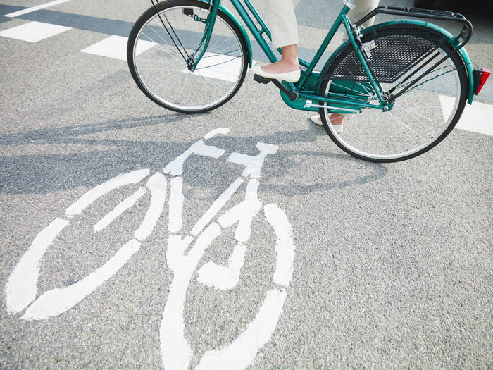 High angle view of bicycle parked on road