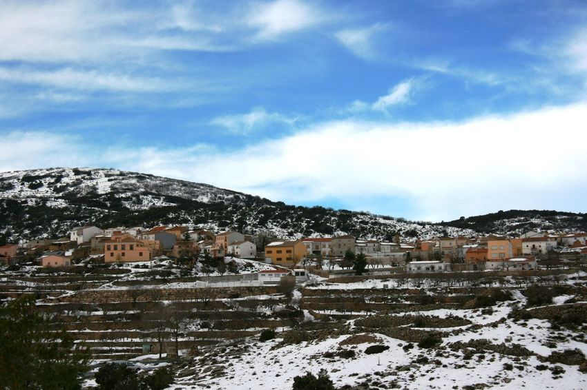 Really rear photos; snow in Spain. Blue Sky And Clouds Cold Temperature Mountain Mountain Range Mountain View Mountain Village Nature Sky Small Town Snow Snow Covered Snow In Mountains