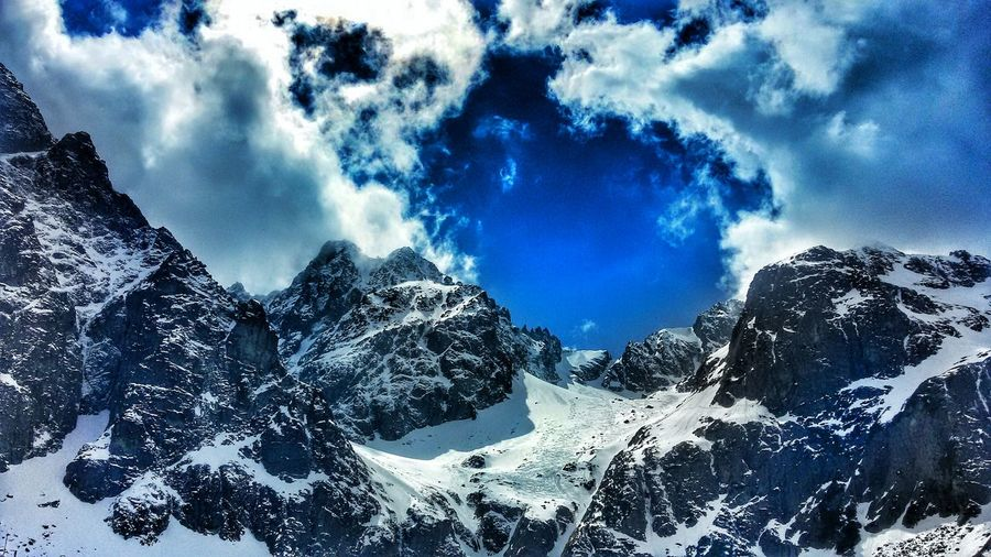 Mountains Slovakia Clouds Cold High View Blue Mountain Rocks Blue Sky Mountaineering Tatra Mountains White Clouds White Clouds And Blue Sky Peaks Hills Quiet Top Top View