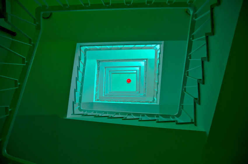 [ the red balloon ] Red Architecture Balloon Building Built Structure Ceiling Diminishing Perspective Directly Below Geometric Shape Green Color High Angle View Illuminated Indoors  Minimal Minimalism Pattern Railing Redballoon Safety Security Shape Staircase Steps And Staircases Turquoise Colored Window
