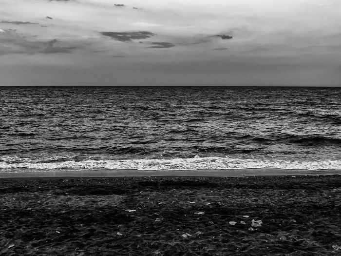 The three elements Air Beach Black And White Cloud - Sky Clouds Day Earth Elements Greece Horizon Over Water Landscape Nature Nature Outdoors Rocks Sand Sea Shore Stones Summer Sunset Water Wave Waves