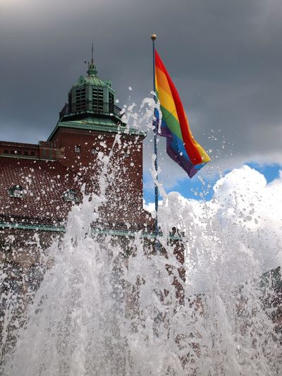 From the Pride Festival in Borås 2017 Architecture Day Flag Fontain Human Rights Motion No People Outdoors Pride Rainbow Rainbow Colors Sky Water
