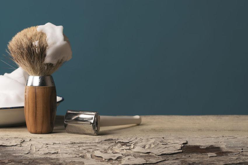 Barber Barbershop Beard Depilation Equipment Hygiene Indoors  Indoors  Man Men No People Razor Retro Retro Style Shave Shaver Shaving Shaving Brush Table Vintage Wood Wood - Material
