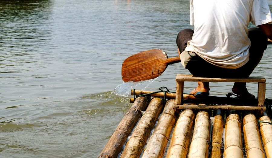 Rafting Bamboo Raft Bamboo Rafting Wooden Paddle Wooden Oar Water Nautical Vessel Sitting Beach Wooden Raft Rowing Raft Rafting Oar Paddling Bamboo - Material Summer Exploratorium Focus On The Story