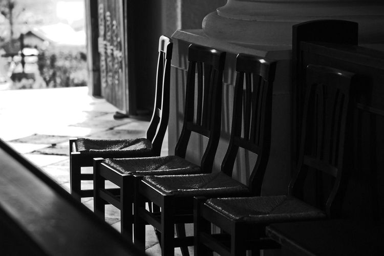 Close-up of chairs