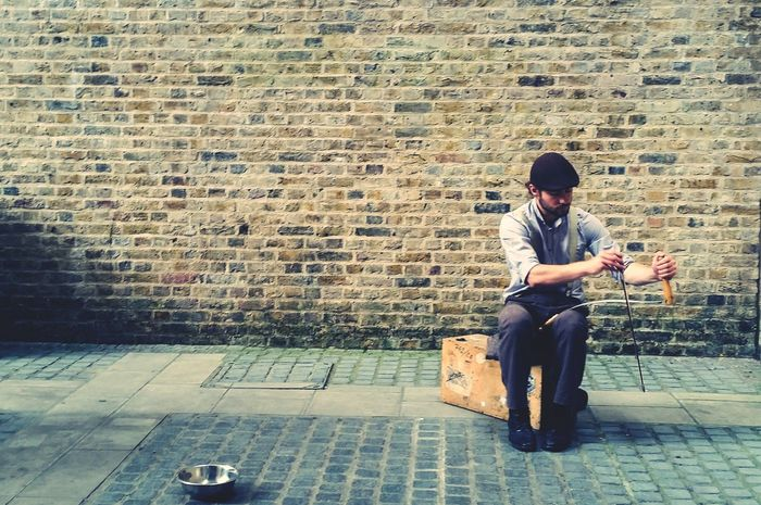 Full Length Jacket Casual Clothing Day Paving Stone Person Person Young Adult Busking Brick Wall Well-dressed Men Busker London Southbank