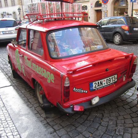 Trabant Old Car Tourist Attraction  Street Advertising Thai Massage Parlour Transportation Red Car Street Photography Oldtimer Christmas In Prague Cobbled Street