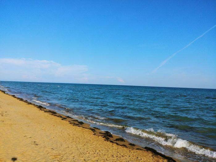 Water Wave Sea Beach Blue Sand Clear Sky Summer Sky Horizon Over Water
