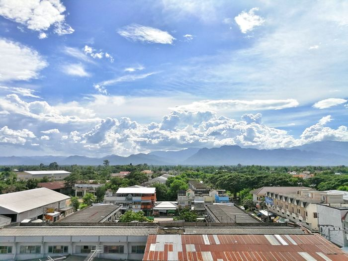 Cloud - Sky Sky Outdoors Building Exterior No People Architecture Cityscape Tree Nature Mountain Countryside Summer Plants Blue City Thailand Petchabun Beauty In Nature Travel Houses Building Landscape Copy Space Copyspace
