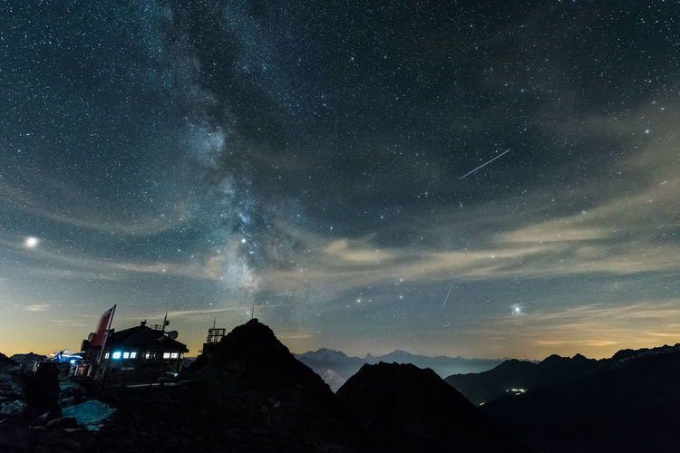 Eggishorn by night Matterhorn  Architecture Astronomy Beauty In Nature Built Structure Cloud - Sky Galaxy Idyllic Long Exposure Milky Way Milkyway Mountain Mountain Range Mountains Nature Night No People Outdoors Scenics - Nature Sky Space Star Star - Space Star Field Stars Starscape Tranquil Scene Tranquility
