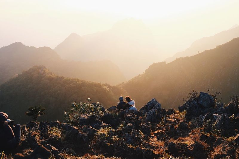 Winter Sunset Sky Chiang Dao Chiang Mai   Thailand Trecking Mountain Real People Nature Beauty In Nature Leisure Activity Backpack Lifestyles Adventure Outdoors Day Mountain Range Landscape Two People Togetherness Fog
