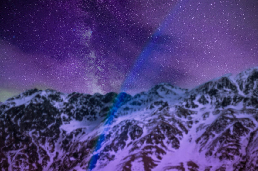 Astronomy Beauty In Nature Cold Temperature Galaxy Landscape Milky Way Mountain Mountains Mountains And Sky Nature Night No People Outdoors Purple Scenics Sky Snow Star - Space Starry Tranquil Scene Tranquility Winter