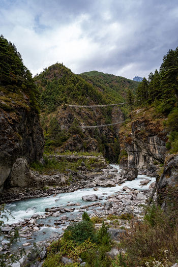 Stream flowing through rocks amidst trees against sky