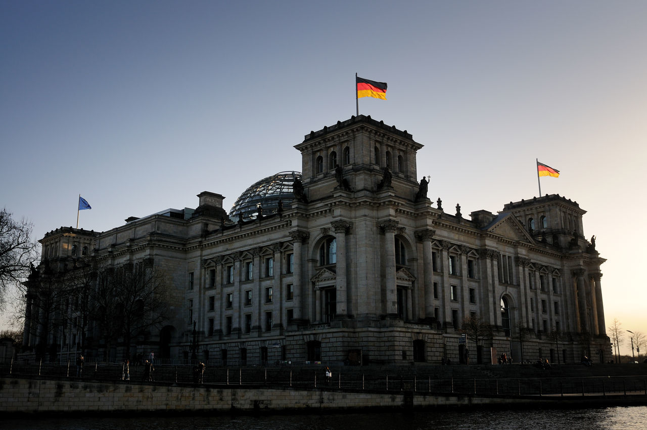 Low Angle View Of The Reichstag Against Clear Sky During Sunset