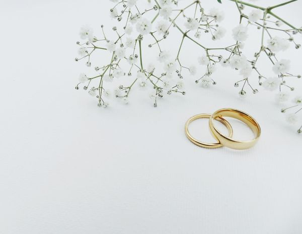 EyeEm Selects Wedding rings with copy space Wedding Love Gold Colored Gold Togetherness Connection White Color No People White Background Bonding Unity Close-up Day Nobody Wedding Rings Hochzeit Wedding Invitation Copy Space Jewelry Rings