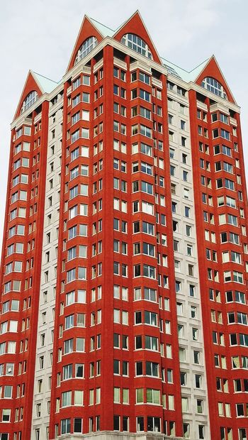 Red and white structure Architecture Outdoors Low Angle View Skyscraper Day Building Exterior Architecture_collection Building Buildings & Sky Red Color Buildingstyles Rotterdam Architecture Rotterdam The Architect - 2018 EyeEm Awards