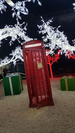 Red Christmas Light Park Telephone Booth Make A Call Make A Wish