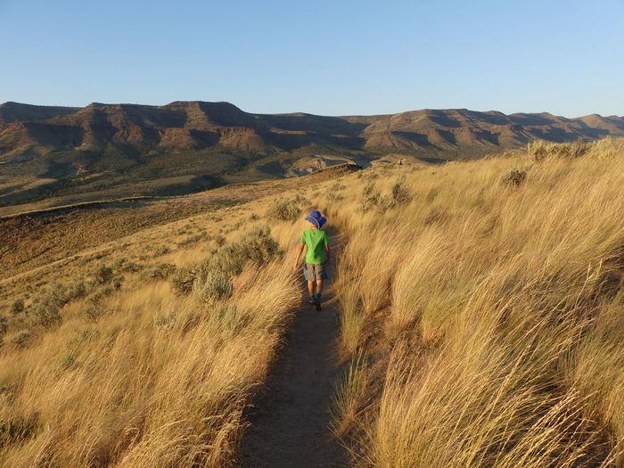 Rear view of boy walking on landscape against sky