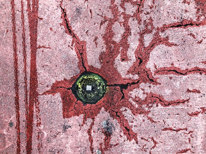 Abstract road cracks Weed Red Crack Cracks Cracked Rain Street Road Full Frame Backgrounds No People Textured  Pattern Close-up Shape Creativity Art And Craft Outdoors Circle Geometric Shape Design Rough Directly Above Nature Abstract