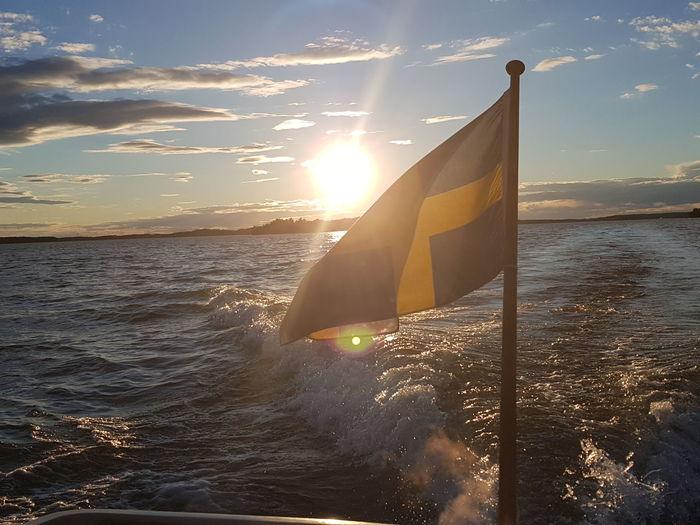 Swedish summer July boatrip Sunset Water Nature Horizon Over Water Sun