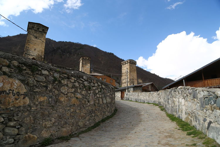 Architecture Built Structure Sky Building Exterior History Wall The Past Cloud - Sky Nature Stone Wall Building Day Fortified Wall Old Fort Direction The Way Forward Solid No People Ancient Outdoors Ancient Civilization Georgia Mestia/town In Svaneti/Georgia