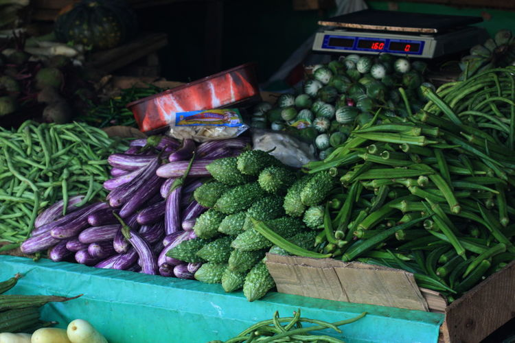 Vegetables at market stall