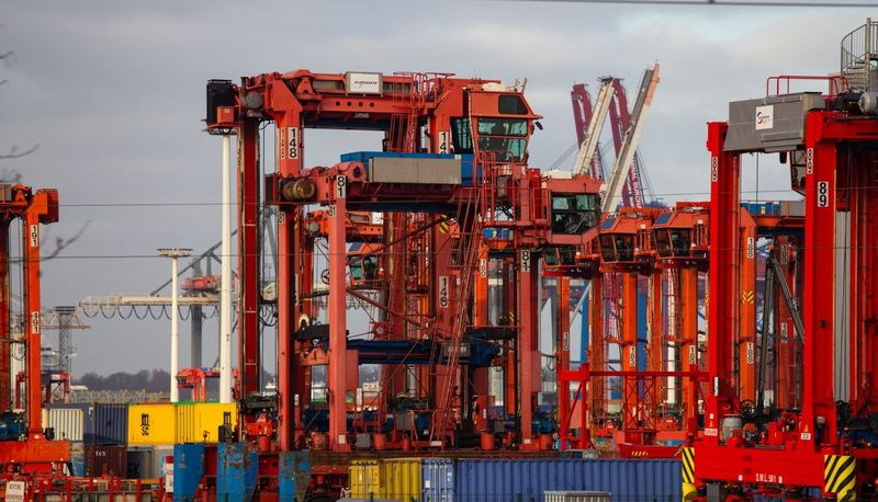 Hamburg Hamburg Harbour Container Port Container Terminal Red Lines And Shapes Pattern