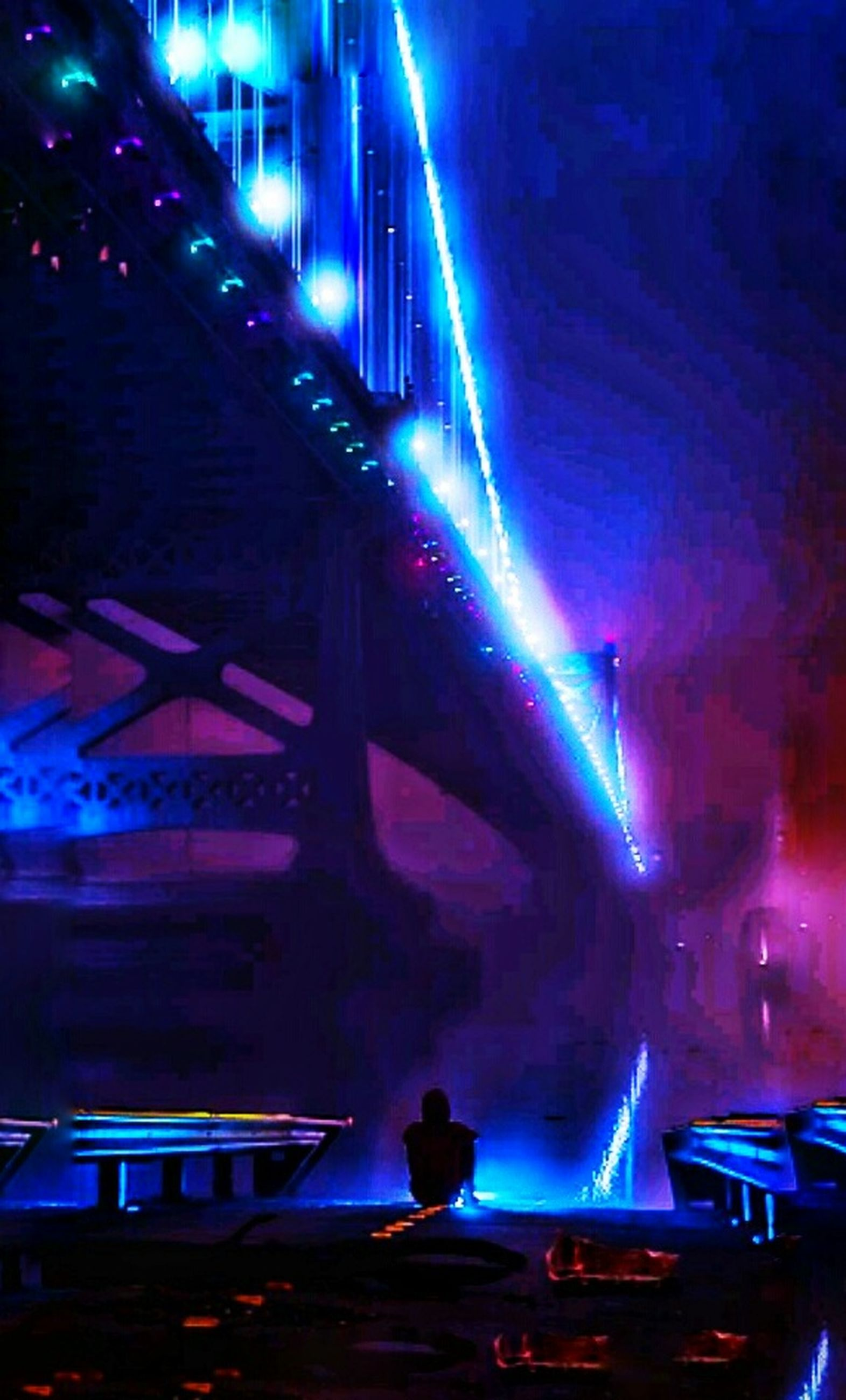 illuminated, night, arts culture and entertainment, stage - performance space, performance, nightlife, performing arts event, stage light, one person, people, indoors, built structure, adults only, adult, one man only, neon, architecture, only men