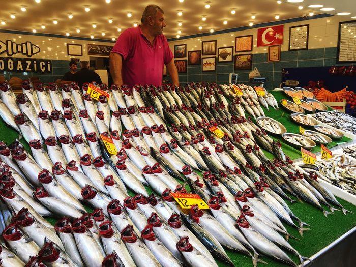 Fish seller in Uskudar Istanbul Istanbul Turkey