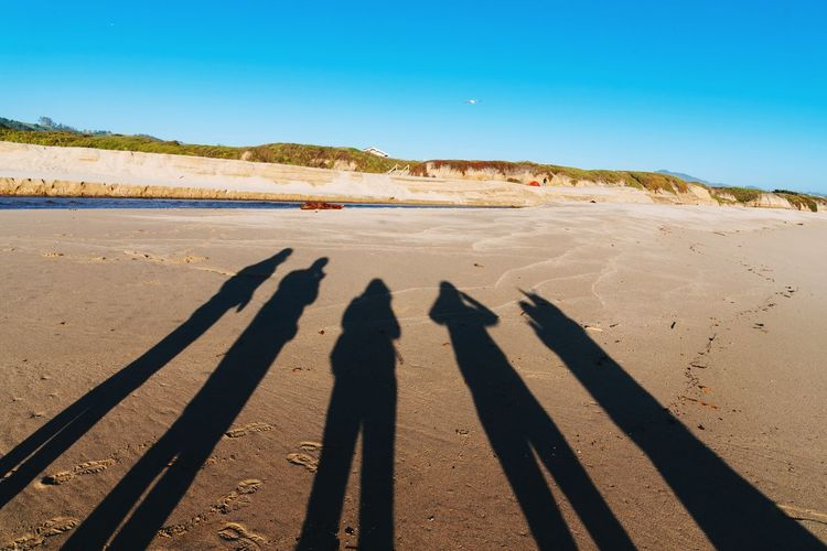 Shadow of friends at beach on sunny day