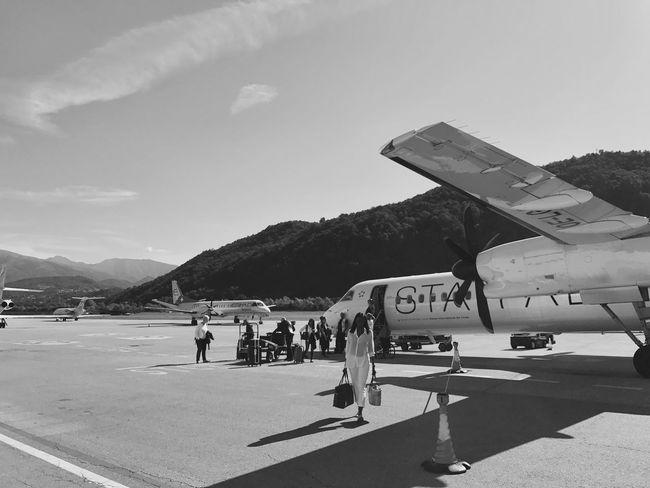 Airplane airports Mountain Lugano Scenery Blackandwhite Sky Switzerland Beauty