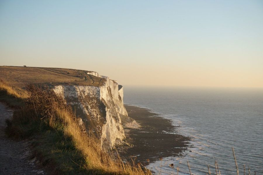 EyeEm Selects Water Sea Nature Beauty In Nature Scenics Tranquil Scene Clear Sky No People Tranquility Horizon Over Water Outdoors Sunset Sky Day Dover England White Cliffs Of Dover White Cliffs