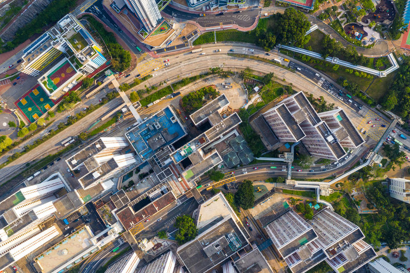 Aerial photo of Hong Kong City Building Exterior Built Structure Architecture High Angle View Road Aerial View Street Residential District Transportation Building Cityscape Day No People Nature Outdoors City Life Home Ownership Mode Of Transportation Travel Destinations Apartment Housing Development