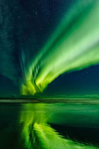 Lofoten Islands Nature Tranquil Scene Sky Sea Northern Lights Reflection Beauty In Nature Water Night Scenics - Nature Star - Space No People Idyllic Aurora Polaris Norway ✌