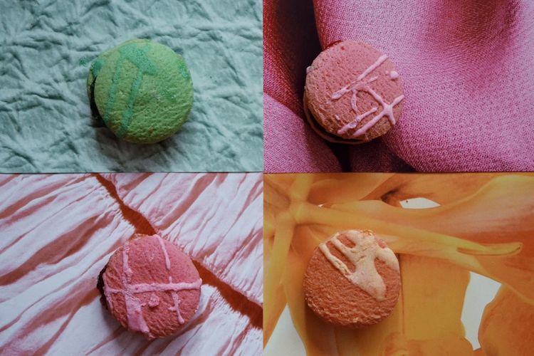 Food And Drink Food Desert Colors Cookies Multi Colored Table High Angle View Knitting Needle Close-up Pastel Colored Prepared Food Macaroon Ready-to-eat