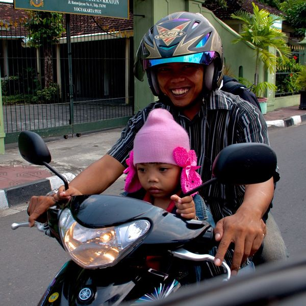 Snap A Stranger Beautiful Pink Pink Head Sweet Child Headwear Two People Happiness Females Women Crash Helmet Transportation Males  Outdoors Travel Smiling Motorcycle Helmet Cheerful Bicycle Mature Women Sitting Fun Riding INDONESIA Jogjakarta