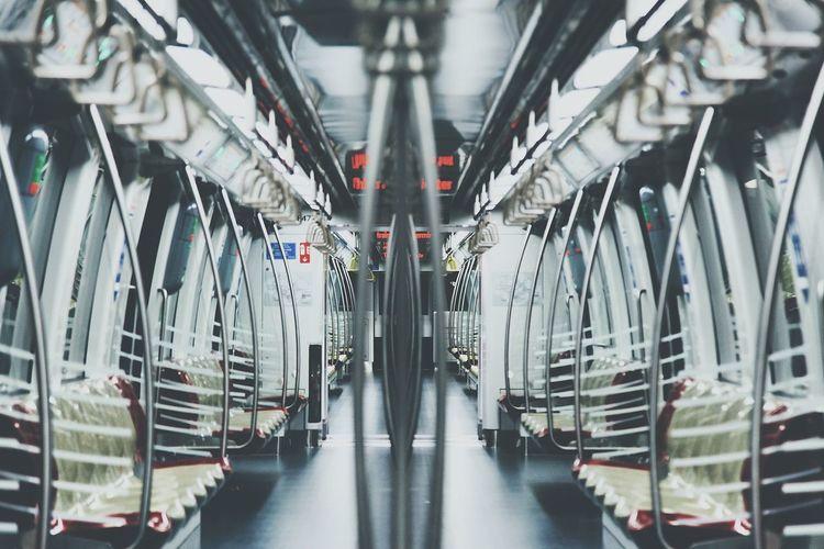 View of empty train seats