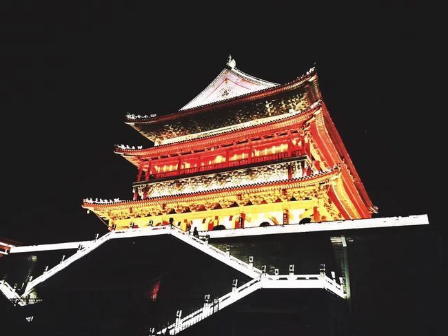 Xi'an Architecture Building Exterior Low Angle View Eaves Cultures Built Structure Night No People Outdoors Roof Tradition History Classical Style Travel Destinations Chinese New Year Chinese Lantern Festival Sky Dragon City