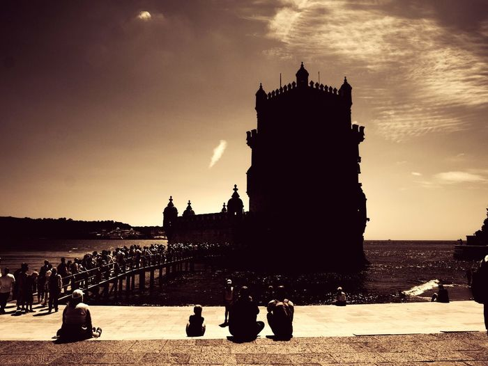 Silhoutte of a Lisbon landmark Travel Travellingthroughtheworld Urban Adventures In The City Statue Sunset Sculpture Beach Silhouette History Water Sky Architecture Scenics EyeEmNewHere Focus On The Story