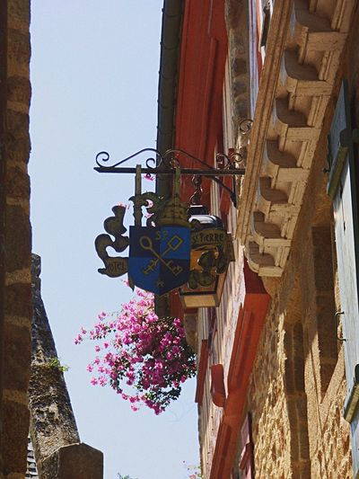 Low Angle View Hanging Built Structure Architecture Building Exterior Day No People Outdoors Clear Sky Close-up Sky France Mont Saint Michel Normandie Boutique Shop Sign Shop Signs Enseigne Medieval Medieval Architecture City Medieval City île Island Rock Island