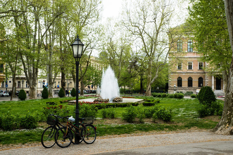 Architecture Bicycle Built Structure City Croatia Cycle Day Footpath Fountain Growth Land Vehicle Lawn Mode Of Transport Nature Outdoors Park Parked Parking Plant Stationary The Way Forward Travel Destinations Tree Two Zagreb