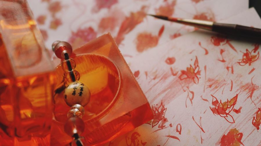 Miniature Chaos II Paint Red Painting Oil Paint Ornament Chinese New Year Fall Close-up Chinese Lantern Modern Art Fine Art Painting Painted Image Art Studio Art And Craft Equipment Oil Painting Painted Brush Stroke Chinese Lantern Festival