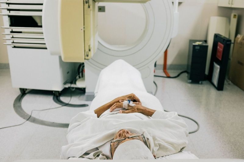 High angle view of patient with ct scanner at hospital