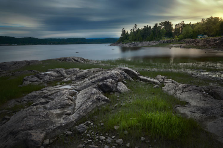 Quiet Morning Calm Grass Morning Morning Light Quebec Reflection Rock Blue Canada Landscape Long Exposure No People River Water