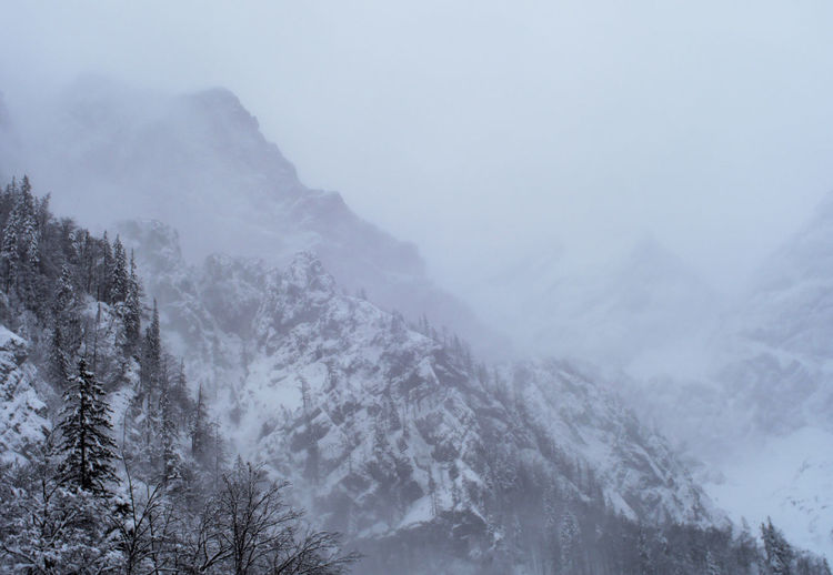 Scenic view of snow covered mountains during winter