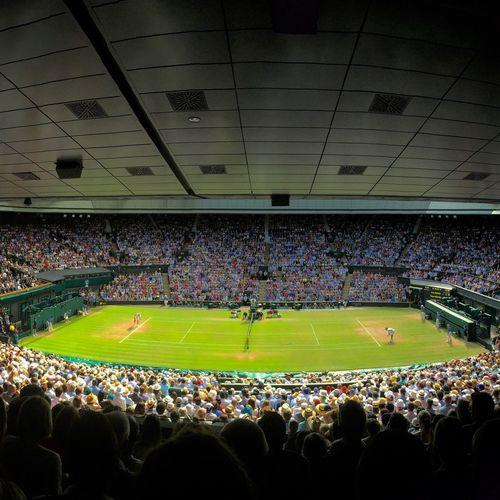 Wimbledon centre court view in 2015 Summer Wimbledon Wimbledon2015 Tenniscourt Tennis 🎾 Tennis Centre Court Sport Sports Grand Slam Andy Murray Roger Federer Semi Final Crowd