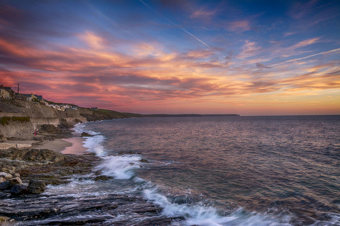 Beauty In Nature Cornwall Day Force Horizon Over Water Motion Nature No People Outdoors Porthleven Power In Nature Scenics Sea Sky Sunset Tranquility Water Wave