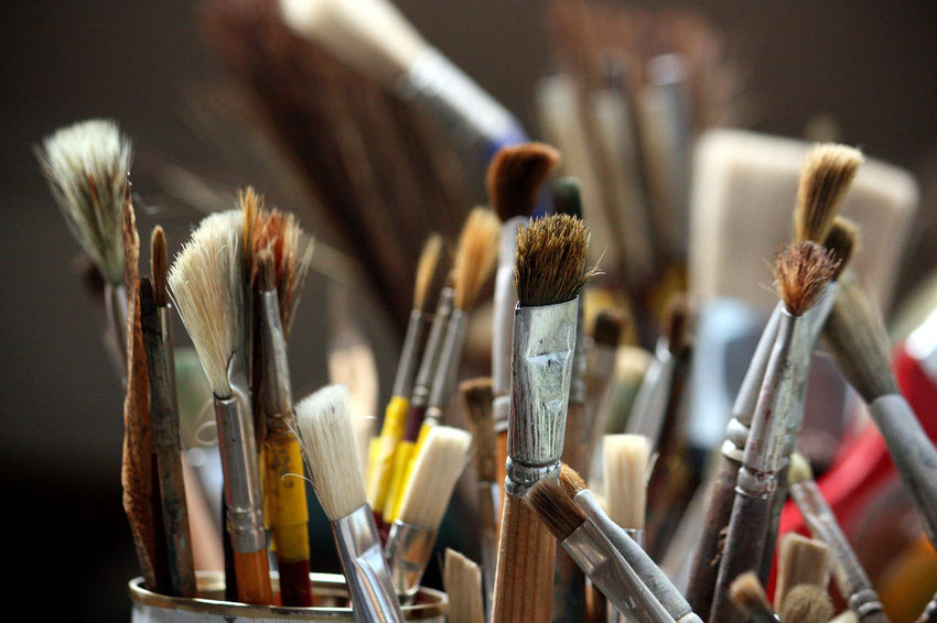 Brushes Focus On Foreground Large Group Of Objects No People Paint Paintbrush Painting Still Life Tools Variation Work Tool Assortment Various Fine Art Painting Art And Craft Equipment Art And Craft Product