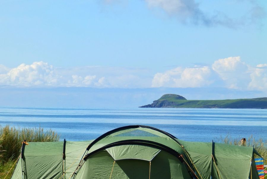 Camping in Scotland . Vango Tent doing us proud. Mull Of Kintyre looking out towards the Isle Of Gigha . Sunshine Beach Campinglife Blue Sky Weather Calm Argyll And Bute Argyll Bute