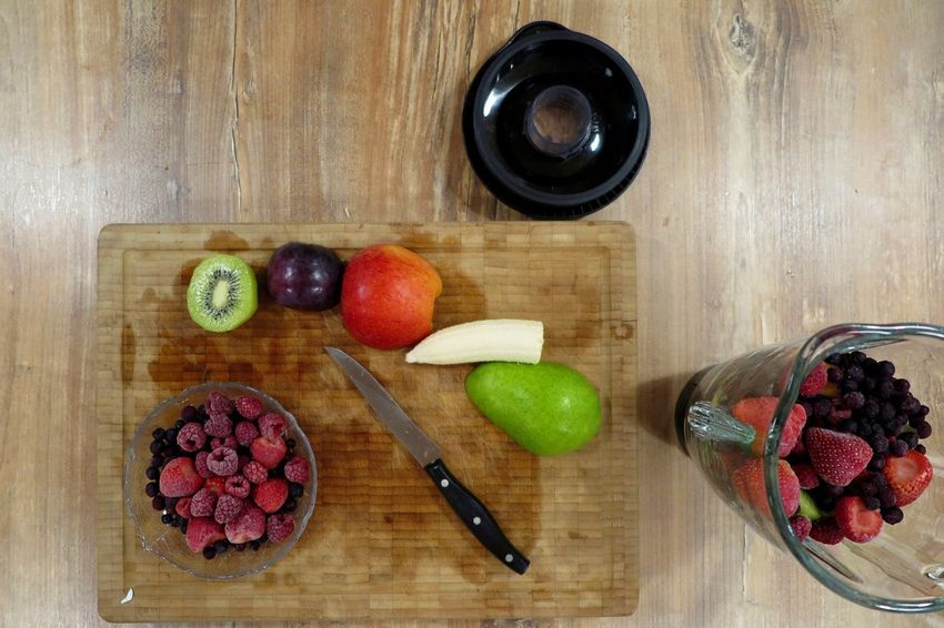 Apple Smoothies Close-up Cutting Board Day Food Food And Drink Freshness Fruit Healthy Healthy Eating Healthy Food Healthy Lifestyle Indoors  Kitchen Kiwi Mixer No People Plum Preparation  Preparing Food Shaker Smoothie Table Wood - Material